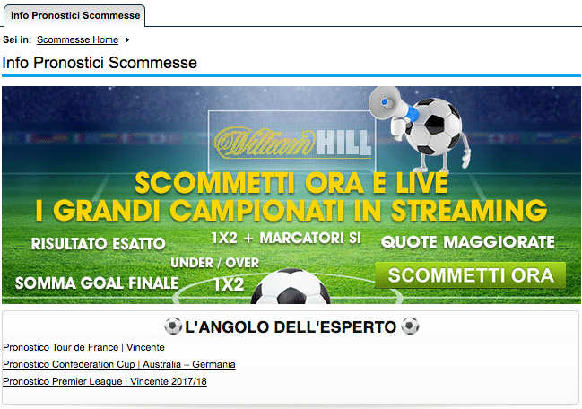 william hill pronostici